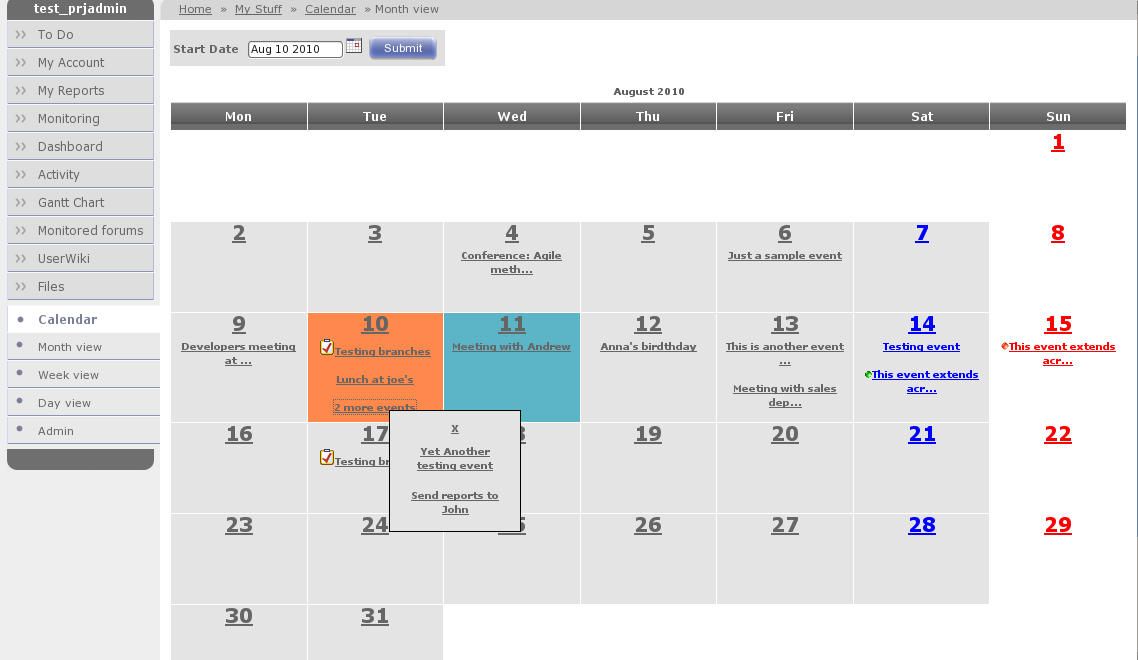Preview of new plugin: an user calendar – The GForge Group Blog